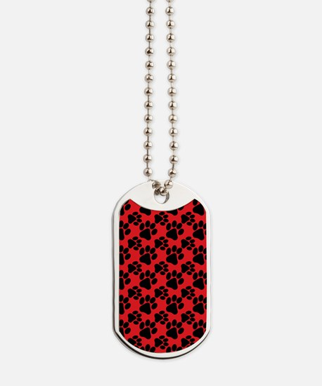 Dog Paws Red Dog Tags