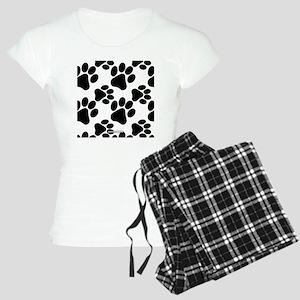 Black Dog Paws on White Women's Light Pajamas