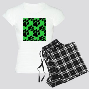 Dog Paws Green Women's Light Pajamas