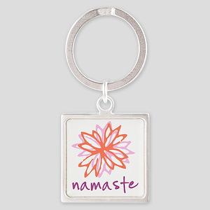 Namaste Flower Square Keychain