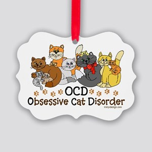OCD Obsessive Cat Disorder Picture Ornament