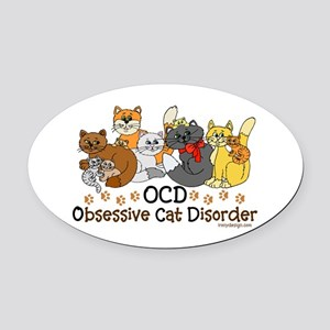 OCD Obsessive Cat Disorder Oval Car Magnet