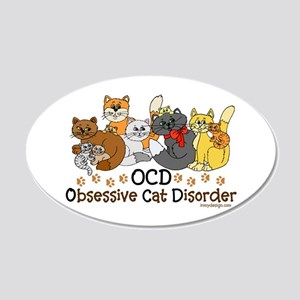 OCD Obsessive Cat Disorder 20x12 Oval Wall Decal