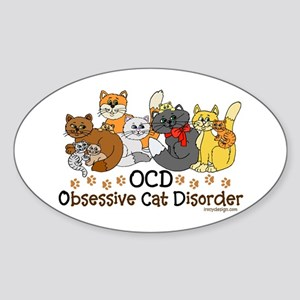 OCD Obsessive Cat Disorder Sticker (Oval)