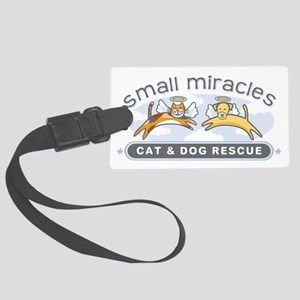 Small Miracles transparent backg Large Luggage Tag