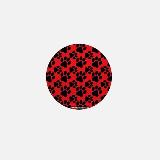 Cute Dog Paw Red Black Mini Button