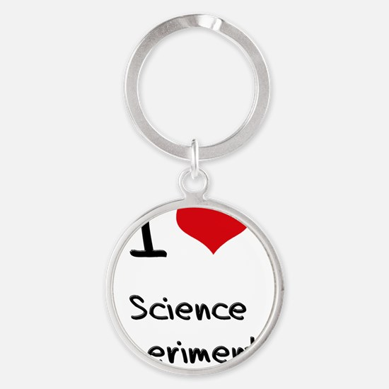 I Love Science Experiments Round Keychain