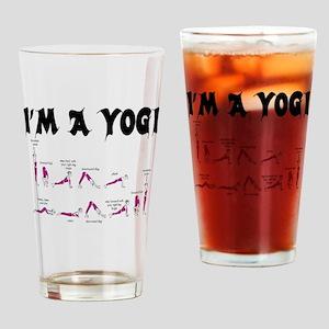 IM A YOGI - BLACK PRINT YOGA TEE Drinking Glass