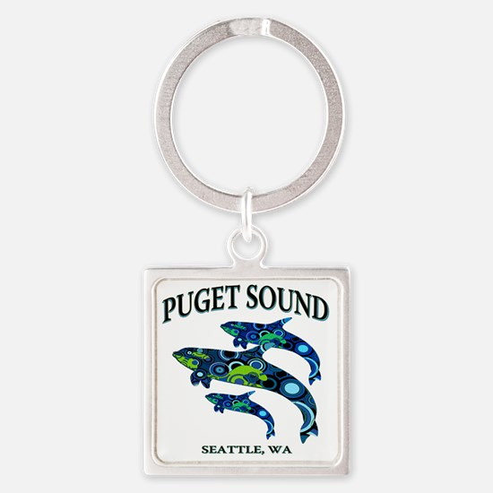 Puget Sound Orcas Square Keychain