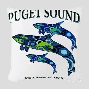 Puget Sound Orcas Woven Throw Pillow