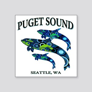 "Puget Sound Orcas Square Sticker 3"" x 3"""