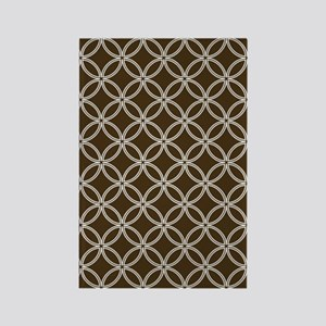 Dotted Circles 5x7 White Brown Rectangle Magnet