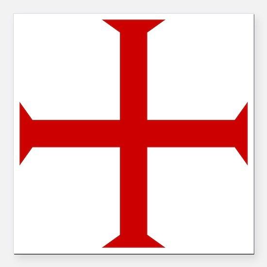 "Knights Templar Cross Square Car Magnet 3"" x 3"""
