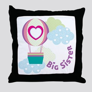 Big Sister Hot Air Balloon In Clouds Throw Pillow