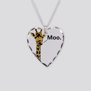 Giraffe Moo Funny Necklace Heart Charm