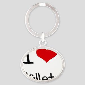 I Love Skillets Oval Keychain