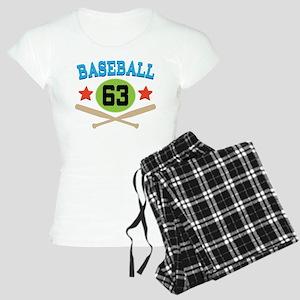 Baseball Player Number 63 Women's Light Pajamas