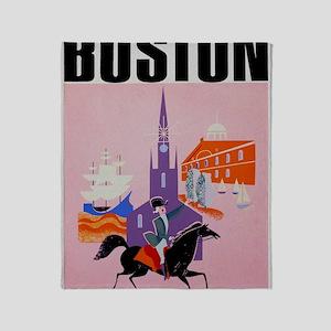 Vintage Boston MA Travel Throw Blanket