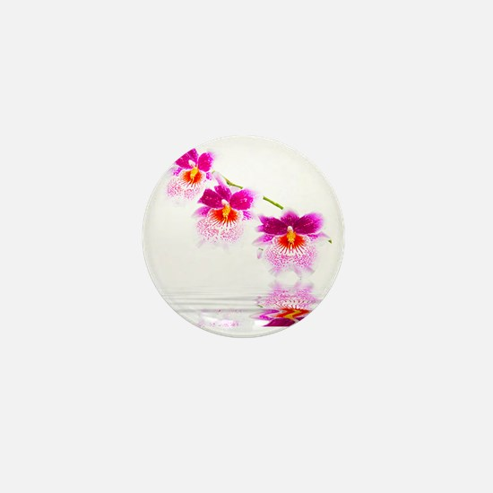 Three Oncidium Pink and White Orchids Mini Button
