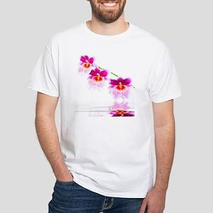 Three Oncidium Pink and White Orc White T-Shirt
