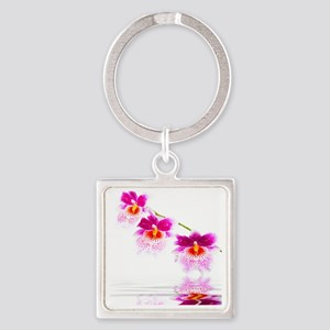 Three Oncidium Pink and White Orch Square Keychain