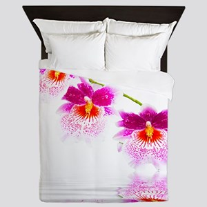 Three Oncidium Pink and White Orchids Queen Duvet