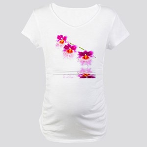 Three Oncidium Pink and White Or Maternity T-Shirt