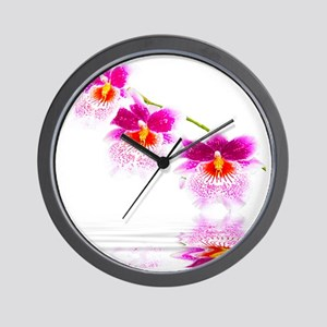 Three Oncidium Pink and White Orchids Wall Clock