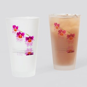 Three Oncidium Pink and White Orchi Drinking Glass