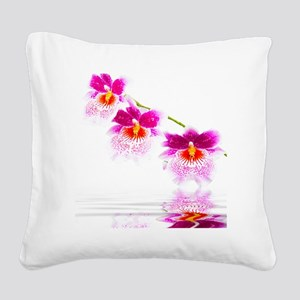 Three Oncidium Pink and White Square Canvas Pillow