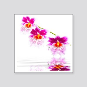 "Three Oncidium Pink and Whi Square Sticker 3"" x 3"""