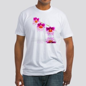 Three Oncidium Pink and White Orchi Fitted T-Shirt