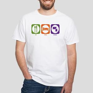 Eat Sleep Stamps White T-Shirt