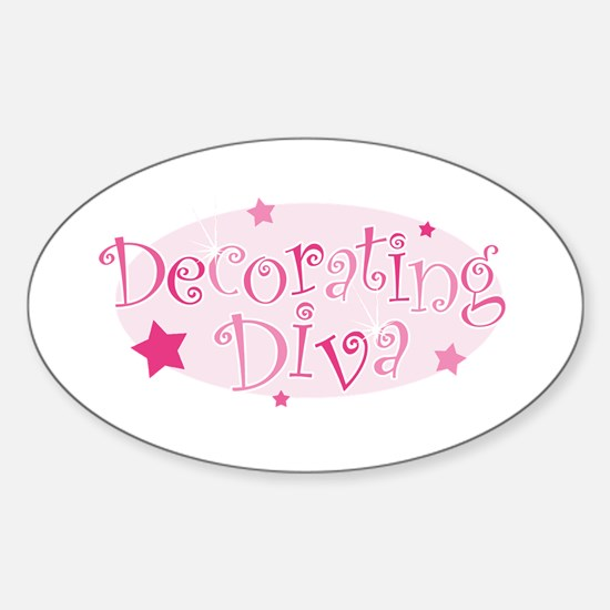 """""""Decorating Diva"""" [pink] Oval Decal"""