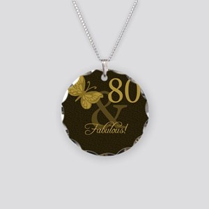80th Birthday Butterfly Necklace Circle Charm