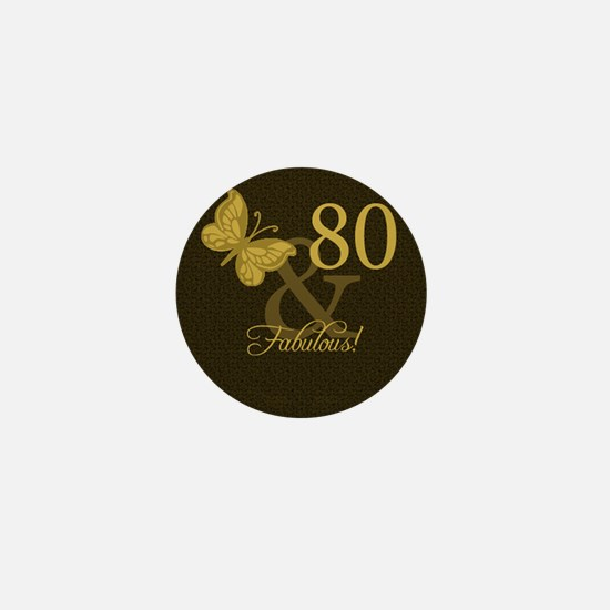 80th Birthday Butterfly Mini Button