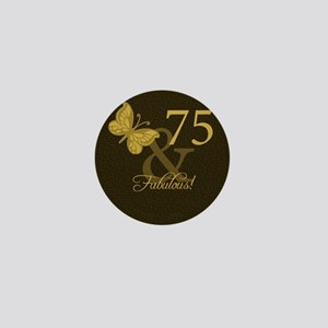 75th Birthday Butterfly Mini Button
