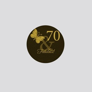 70th Birthday Butterfly Mini Button