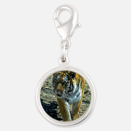Tigers Silver Round Charm
