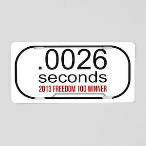 .0026 Seconds Aluminum License Plate