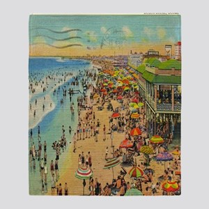Vintge Ocean City NJ Postcard Throw Blanket