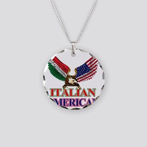 Italian American Necklace Circle Charm