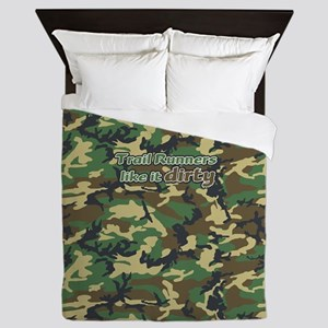 Trail Runners Like it Dirty Army Camo Queen Duvet