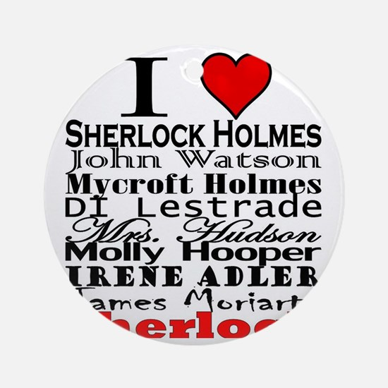 I Heart Sherlock Round Ornament