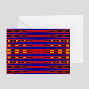 Bright Red Blue Modern Abstract Greeting Card