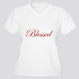 Red Blessed Women's Plus Size V-Neck T-Shirt
