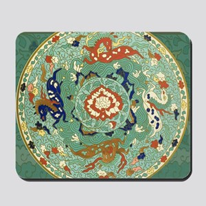 Vintage Chinese Blue Green Land Sea Air  Mousepad
