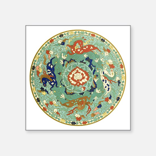 """Vintage Chinese Blue Green  Square Sticker 3"""" x 3"""""""