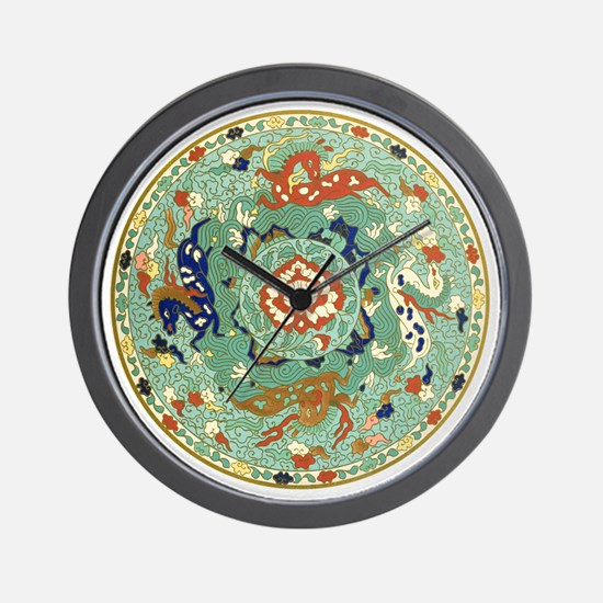 Vintage Chinese Blue Green Land Sea Air Wall Clock