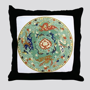 Vintage Chinese Blue Green Land Sea A Throw Pillow